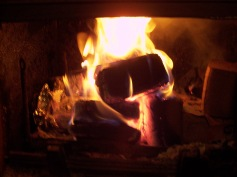 brykietkominkowy.pl palący się brykiet w kominku